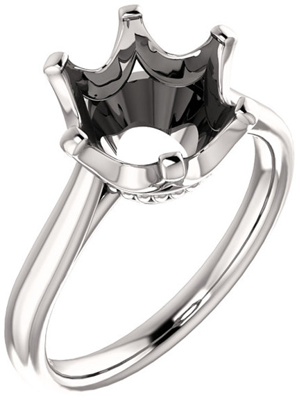 Round 6-Prong Classic Solitaire Engagement Ring Mounting for 4.80 mm to 10.00 mm Center - Customize Metal, Accents or Gem Type