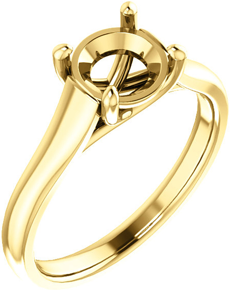 Thick Band Solitaire Ring Mounting for Round Shape Centergem Sized 4.10mm to 12.00 mm - Customize Metal, Accents or Gem Type