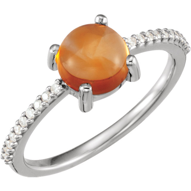 14KT White Gold 7mm Round Cabochon Citrine & 1/10 Carat Total Weight Diamond Ring