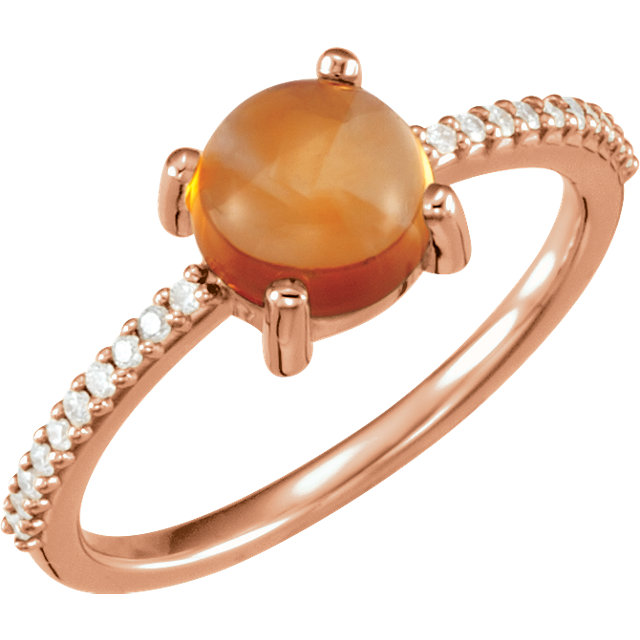 14KT Rose Gold 7mm Round Cabochon Citrine & 1/10 Carat Total Weight Diamond Ring