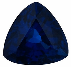 Loose Blue Sapphire Stone, Trillion Shape, Grade A, 6.50 mm in Size, 1.2 Carats