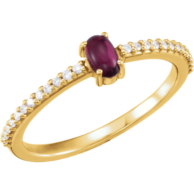 14KT Yellow Gold 5x3mm Oval Cabochon Pink Tourmaline & 1/8 Carat Total Weight Diamond Ring