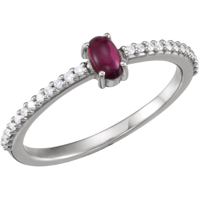 14KT White Gold 5x3mm Oval Cabochon Pink Tourmaline & 1/8 Carat Total Weight Diamond Ring