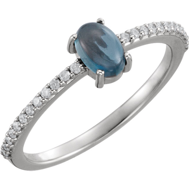 14KT White Gold 6x4mm Oval Cabochon London Blue Topaz & 1/8 Carat Total Weight Diamond Ring