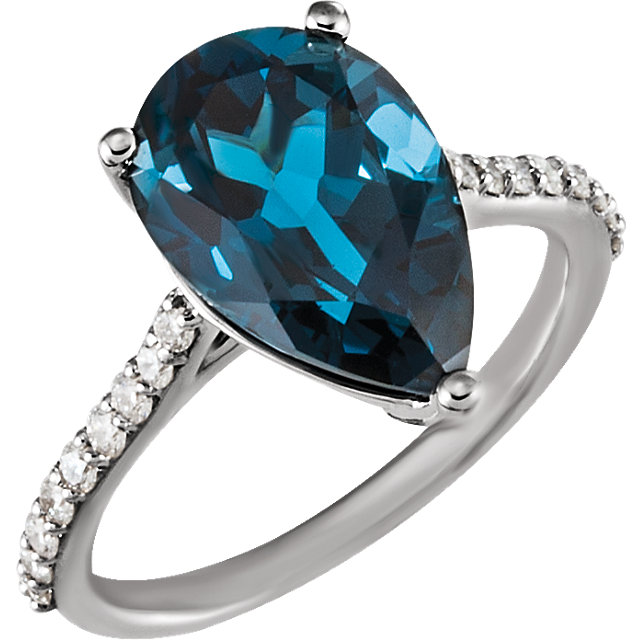 14KT White Gold London Blue Topaz & 1/4 Carat Total Weight Diamond Ring