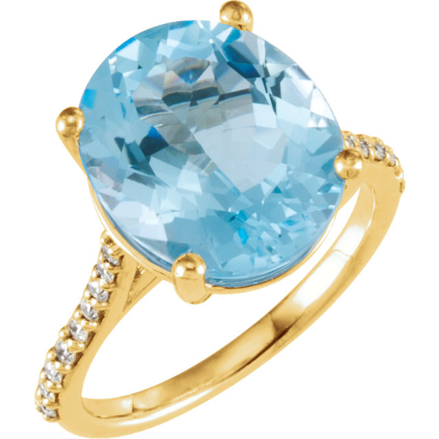 14KT Yellow Gold Sky Blue Topaz & 1/4 Carat Total Weight Diamond Ring
