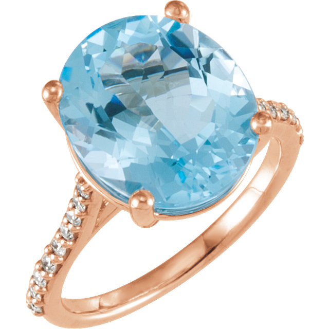 14KT Rose Gold Sky Blue Topaz & 1/4 Carat Total Weight Diamond Ring