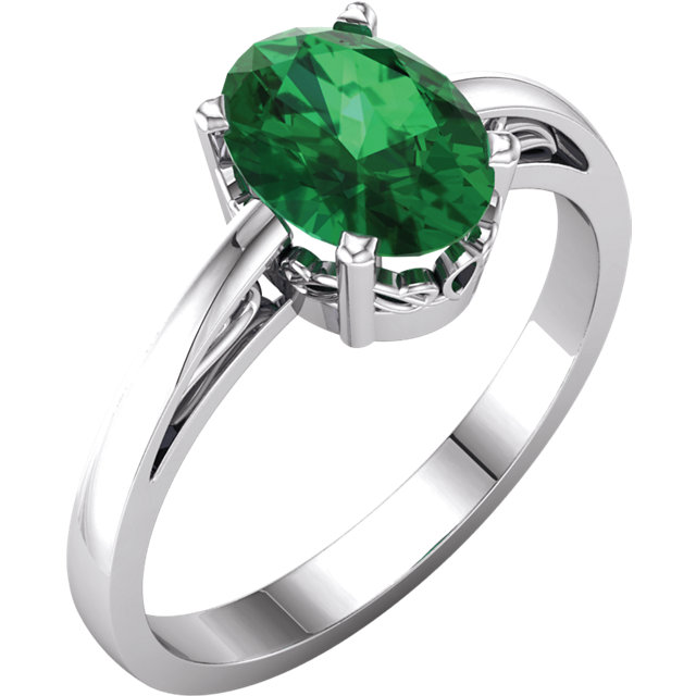 14KT White Gold Chatham Created Emerald Ring