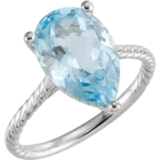 14KT White Gold Sky Blue Topaz Rope Ring