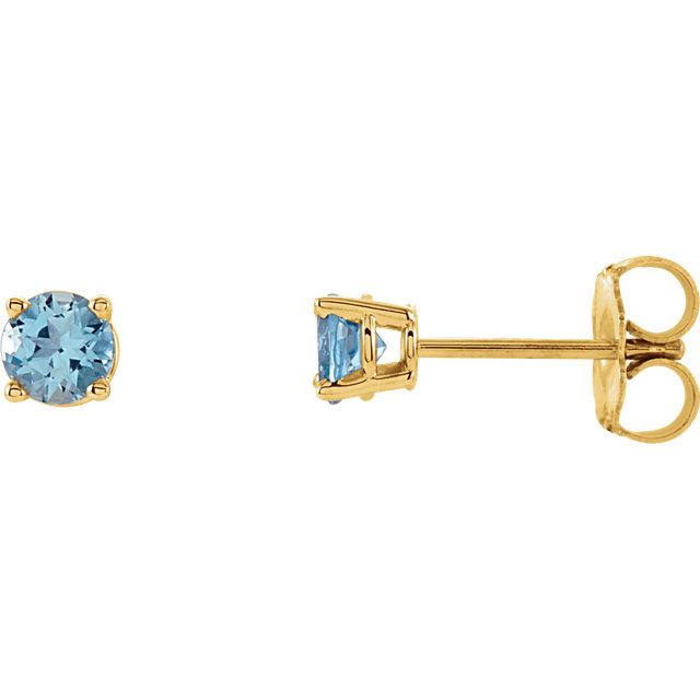 14KT Yellow Gold 4mm Round Aquamarine Earrings