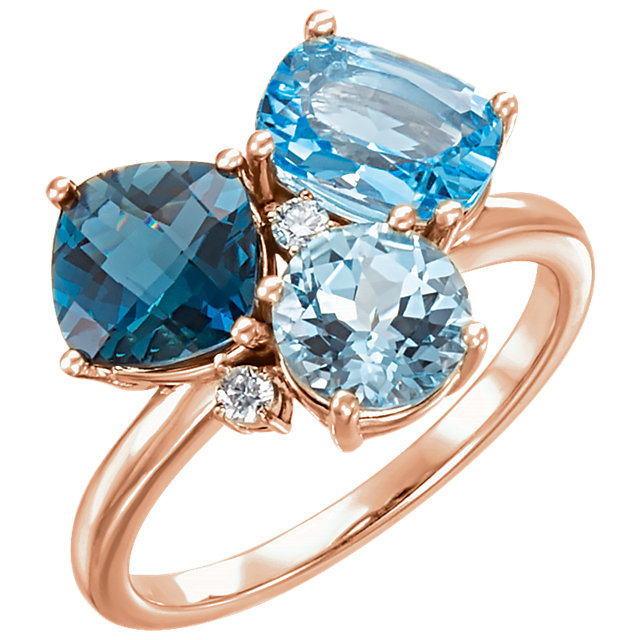 14KT Rose Gold Swiss, London, & Sky Blue Topaz & .05 Carat Total Weight Diamond Ring