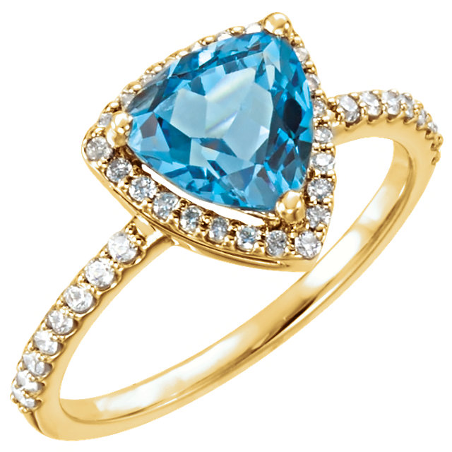 14KT Yellow Gold Swiss Blue Topaz & 1/4 Carat Total Weight Diamond Ring