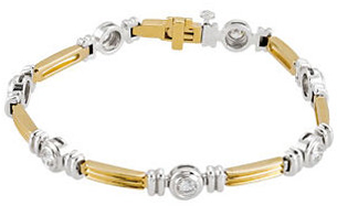 14KT Yellow Gold & White 1 CTW Diamond Line Bracelet