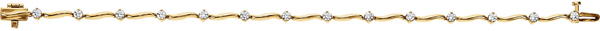 14KT Yellow Gold 1 CTW Diamond Line Bracelet