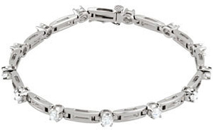 14KT White Gold 3/4 CTW Diamond Line 7.25