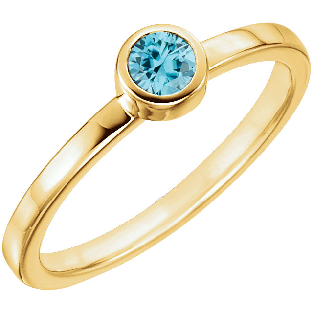 14KT Yellow Gold Blue Zircon Bezel Ring