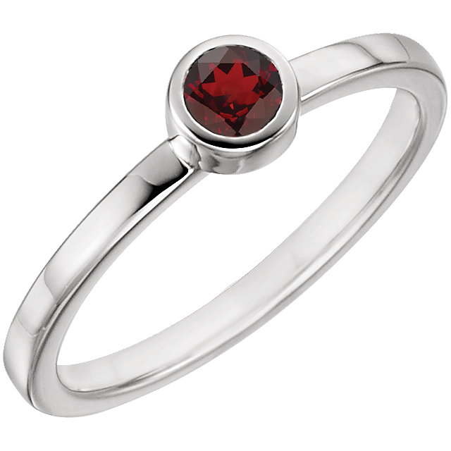 14KT White Gold Mozambique Garnet Bezel Ring