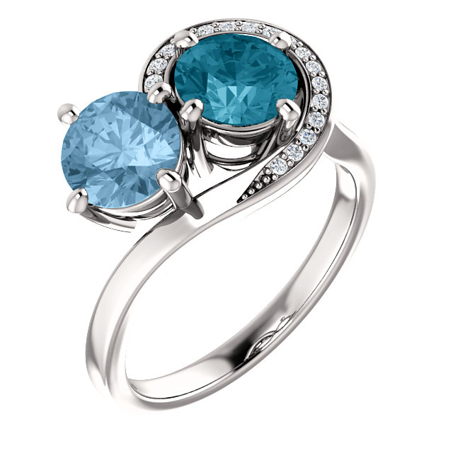 14KT White Gold London Blue Topaz & Sky Blue Topez .06 Carat Total Weight Dia Ring