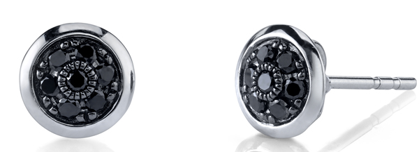 Trendy 0.64ctw Black Diamond Button Earrings in 18kt White Gold