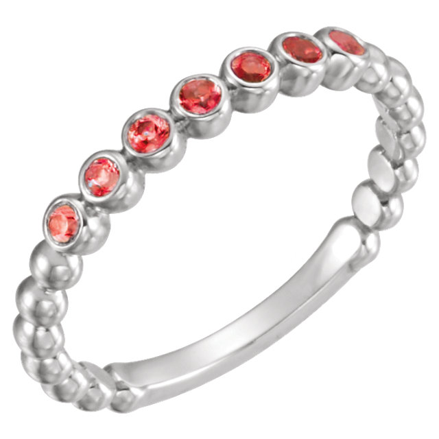 14KT White Gold Mozambique Garnet Stackable Ring