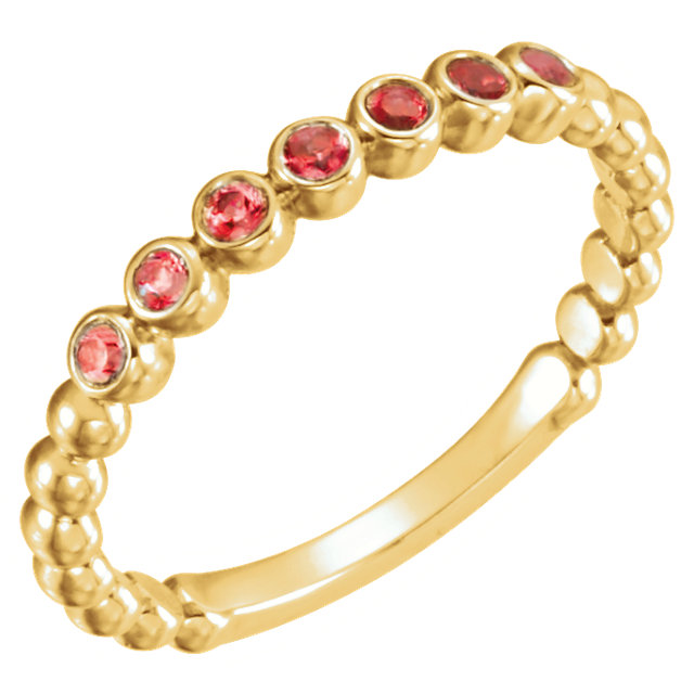14KT Yellow Gold Mozambique Garnet Stackable Ring