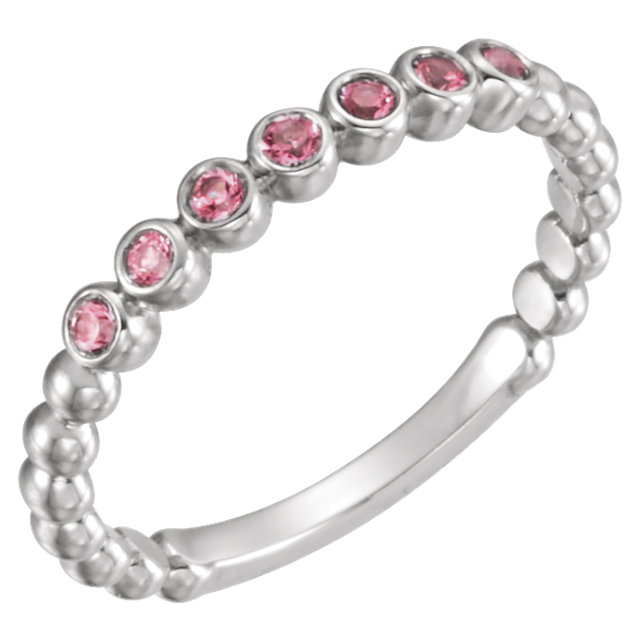 14KT White Gold Pink Tourmaline Stackable Ring