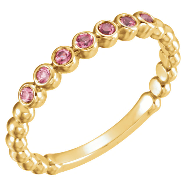 14KT Yellow Gold Pink Tourmaline Stackable Ring