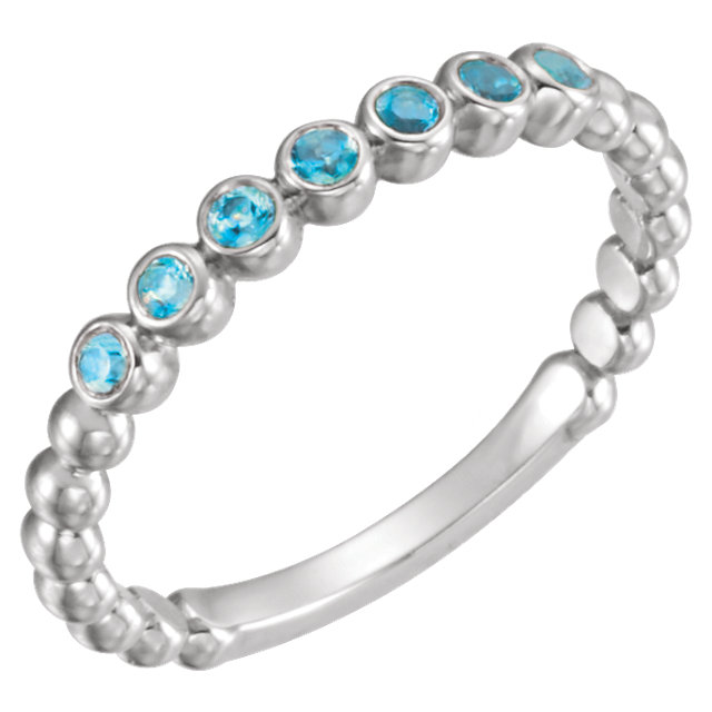 14KT White Gold Blue Zircon Stackable Ring