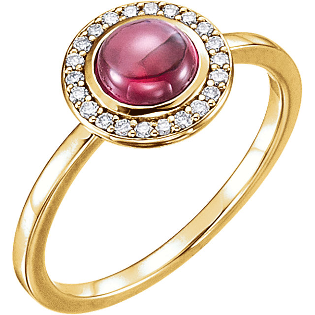 14KT Yellow Gold Rhodolite & 1/8 Carat Total Weight Diamond Ring