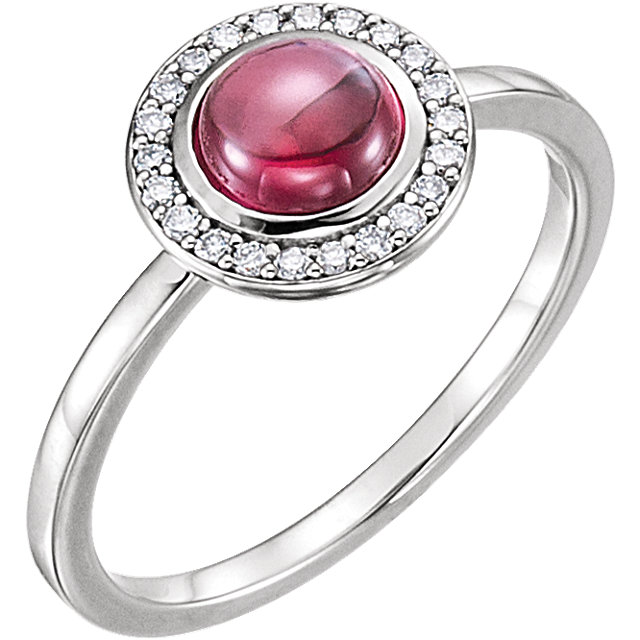 Platinum Rhodolite & 1/8 Carat Total Weight Diamond Ring