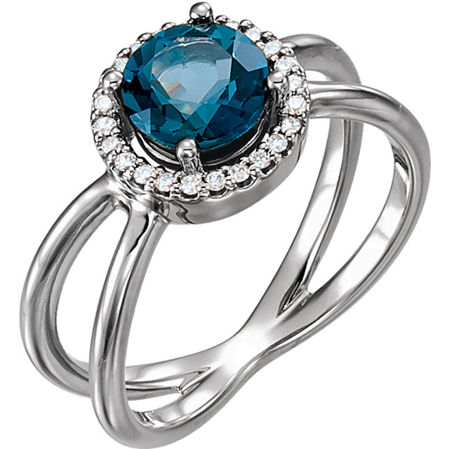 Sterling Silver London Blue Topaz & 1/8 Carat Total Weight Diamond Halo-Style Ring