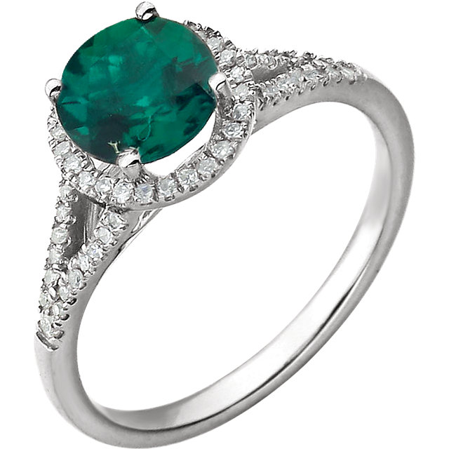 14KT White Gold Created Emerald & 1/5 Carat Total Weight Diamond Ring
