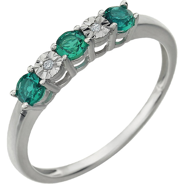 14KT White Gold Created Emerald & .01 Carat Total Weight Diamond Ring