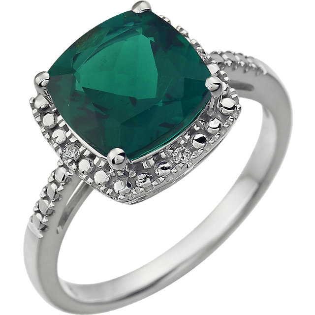 14KT White Gold Created Emerald & .03 Carat Total Weight Diamond Ring