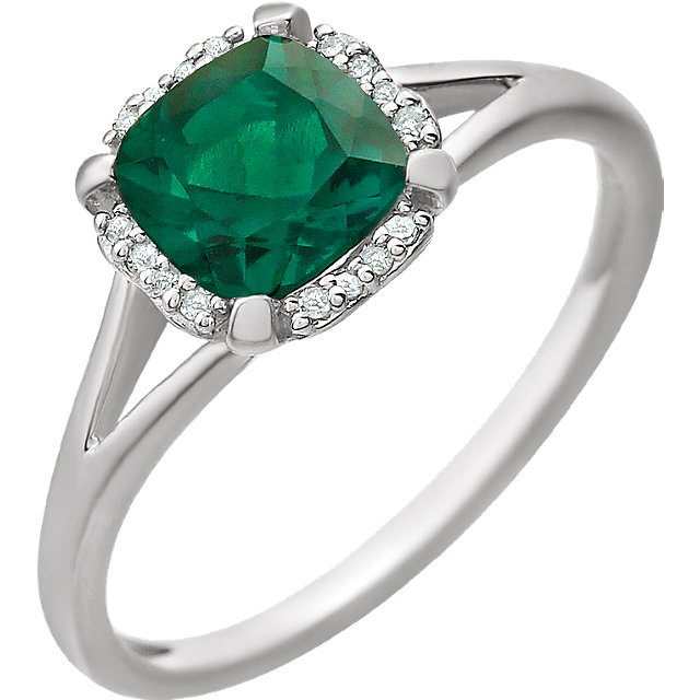 14KT White Gold Created Emerald & .05 Carat Total Weight Diamond Ring