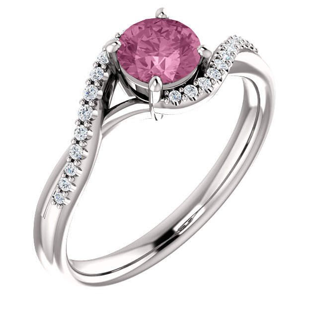 14KT White Gold Passion Pink Topaz & 1/10 Carat Total Weight Diamond Ring