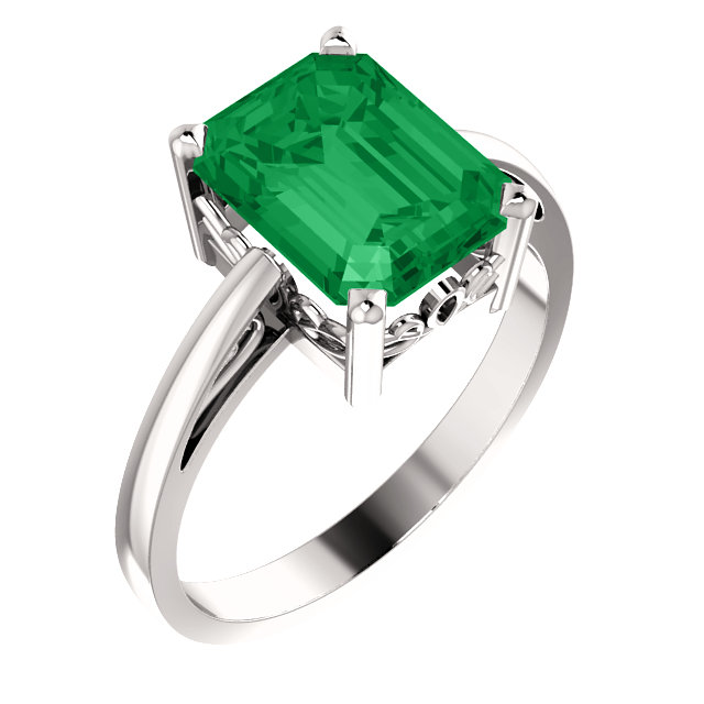 14KT White Gold 9x7mm Emerald Scroll Setting Ring Mounting