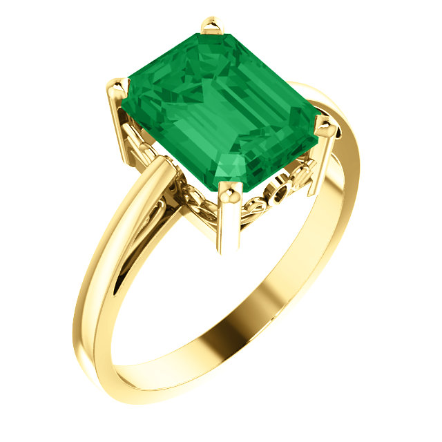 14KT Yellow Gold 9x7mm Emerald Scroll Setting Ring Mounting