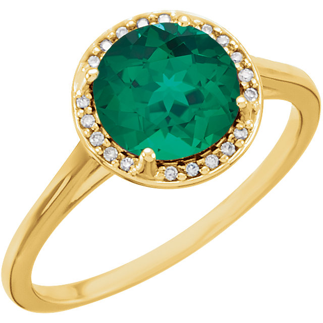 14KT Yellow Gold Chatham Created Emerald and .05Carat Total Weight Diamond Ring