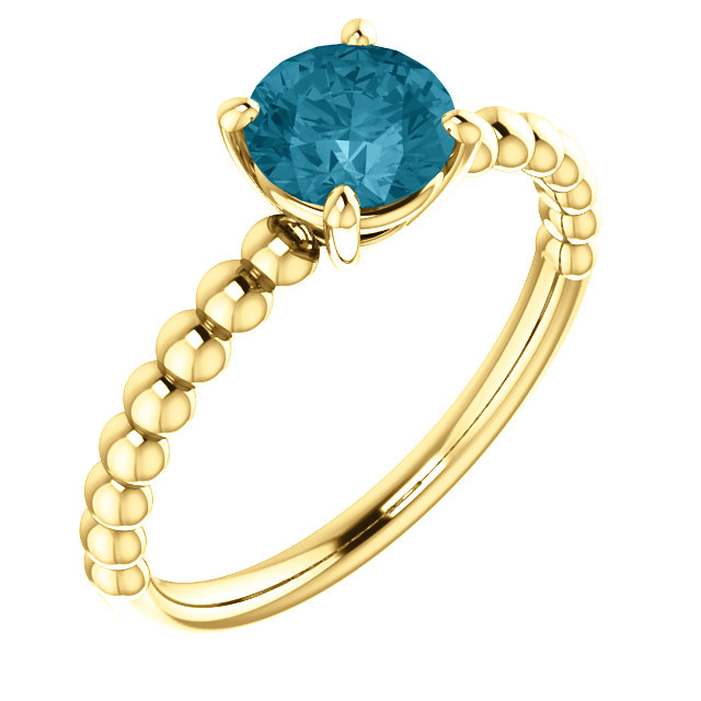14KT Yellow Gold London Blue Topaz Beaded Ring