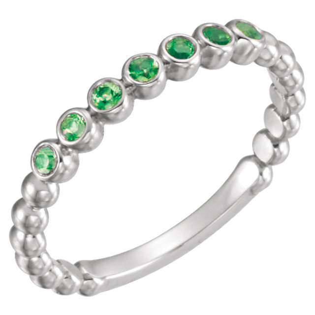 14KT White Gold Emerald Stackable Ring