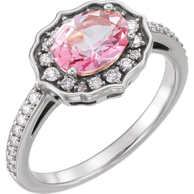 Platinum Baby Pink Topaz & 1/3 Carat Total Weight Diamond Ring