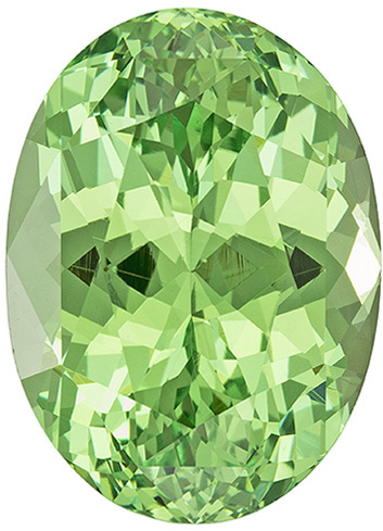 Neon Bright Mint Green Garnet Oval Gemstone Exceptionally Brilliant, 14.1 x 10.2 mm, 8.15 carats