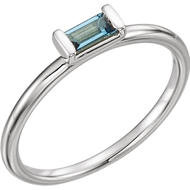 14KT White Gold London Blue Topaz Stackable Ring