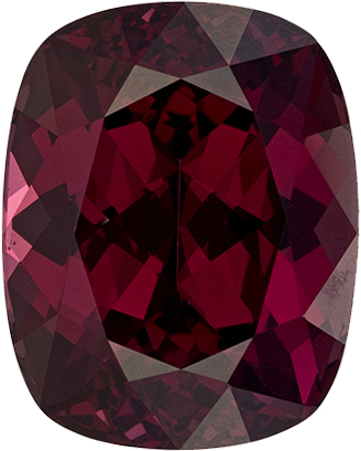 Raspberry Red Rhodolite Loose Gem in Cushion Cut, Rich Raspberry Red, 10.7 x 8.6 mm, 5.61 carats