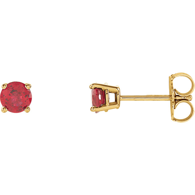 14KT Yellow Gold 4mm Round Ruby Earrings