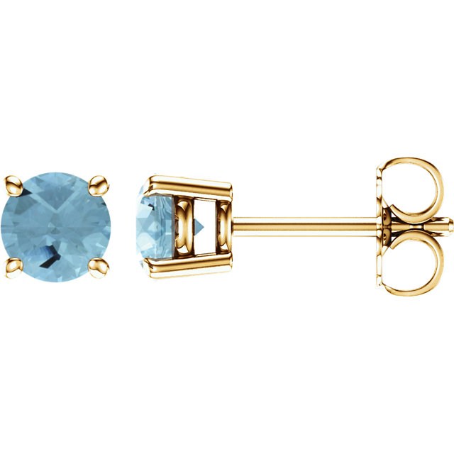 14KT Yellow Gold 5mm Round Aquamarine Earrings