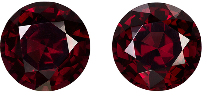 Rich Red Round Cut Rhodolite Garnet Matched Pair with Raspberry Tinge, 9.3 mm, 7.89 carats