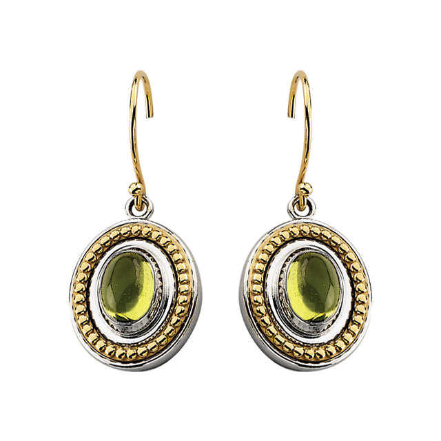 Sterling Silver & 14KT Yellow Gold Peridot Earrings