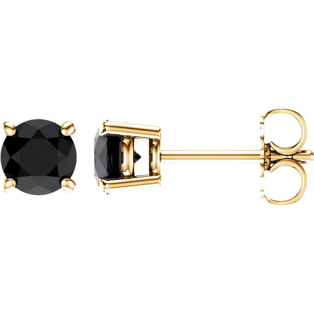 14KT Yellow Gold 5mm Round Onyx Earrings